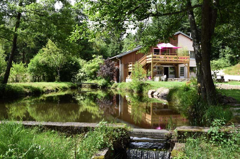 L'étang à l'arrière du gîte où vivent les propriétaires